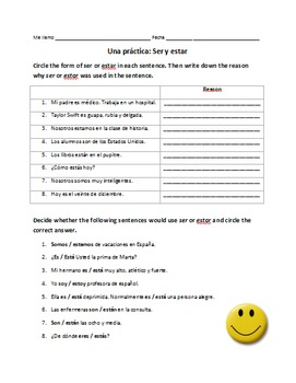 Spanish Ser or Estar Worksheets