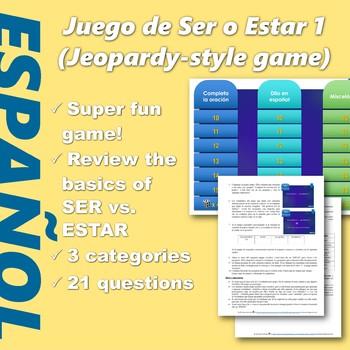 Español: Juego de SER vs ESTAR (1). (Ser vs. Estar. Jeopardy style game)