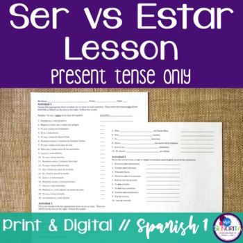 Spanish Ser vs. Estar Lessons {present tense only}