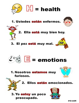 Spanish Ser vs. Estar Grammar Notes