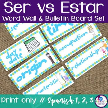 Spanish Ser vs Estar Word Wall & Bulletin Board Set