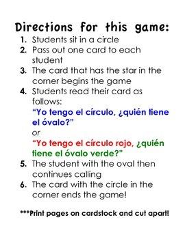 Spanish Shape Game-Yo tengo, quien tiene?