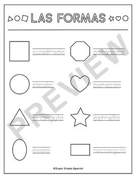 Spanish Shapes / Las Formas Printable Coloring Sheet