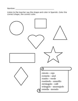 Spanish Shapes and Colors Listening Activity