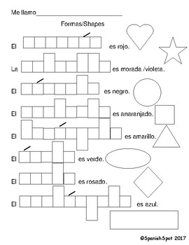 Spanish Shapes and Colors Worksheet by SpanishSpot | TpT