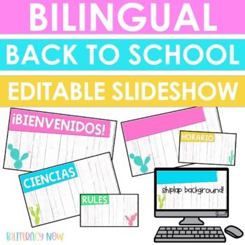 English & Spanish Back to School Open House Slideshow! Shiplap Theme EDITABLE!