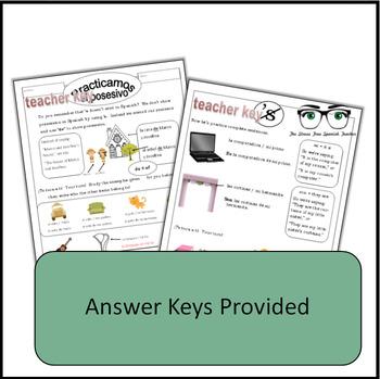 Spanish, Showing Possession Using DE, Notes / Handout / Practice Activities