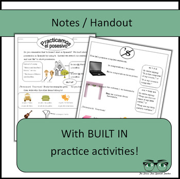 Spanish, Showing Possession Using DE, Notes / Handout / Practice Activities