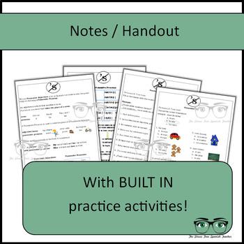 Spanish, Showing Possession Using Possessive Pronouns, Notes / Practice