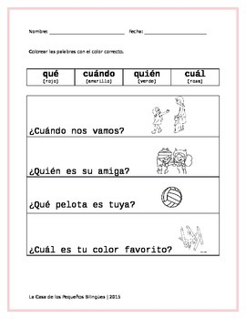 Spanish Sight Word Coloring Activity