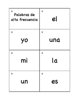 Spanish Sight Word Flash Cards K