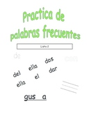Spanish Sight Word Practice List 2 (Palabras frecuentes)