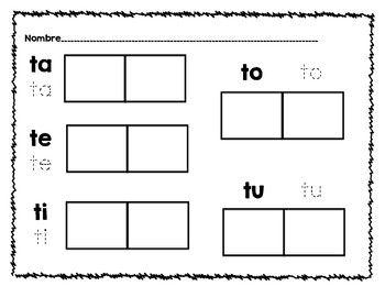 Spanish Sight Word and Syllable  Read, Trace, and Stamp