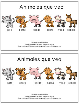 Spanish Sight Word Reader: Animales que veo
