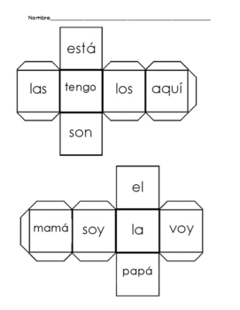 Spanish Sight Word Roll and Write