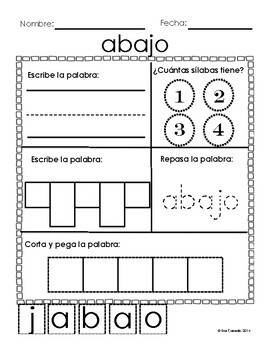 Spanish Sight Word Worksheets (70 5, 6, and 7, letter words!)