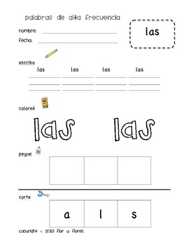 Spanish Sight Word Worksheets K (Set 2)