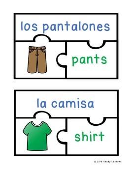 Spanish Sight Words Activity Spanish Clothing Spanish Game ELL ESL Newcomer