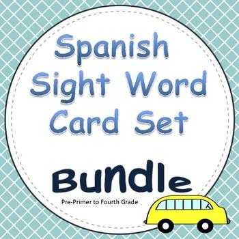 Spanish Sight Word Card BUNDLE (Grades Pre-Primer to 4th)