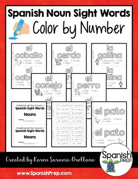 Spanish Sight Words Color By Number (Nouns)