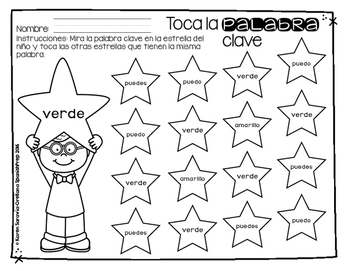 Spanish Sight Words Dab the Stars (Pre-Primer)