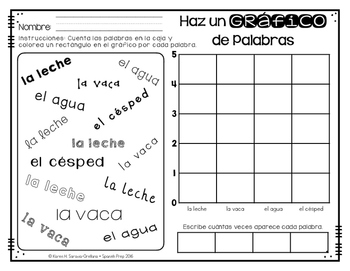 Spanish Sight Words Graphing (Nouns)