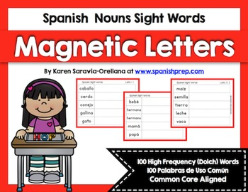 Spanish Sight Words Magnetic Letters  Bundle