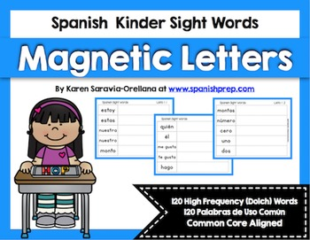 Spanish Sight Words Magnetic Letters  Bundle