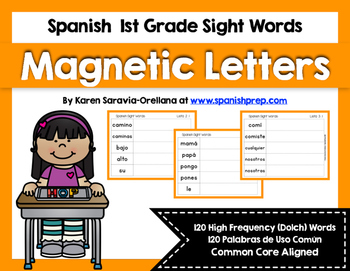 Spanish Sight Words Magnetic Letters Mats (1st Grade)
