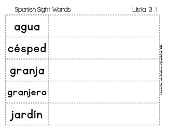 Spanish Sight Words Magnetic Letters Mats (Nouns)