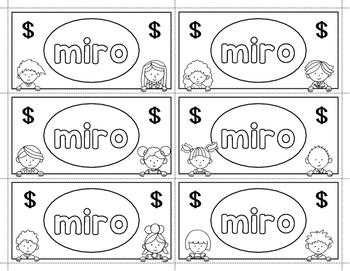 Spanish Sight Words Money (Pre-Primer)