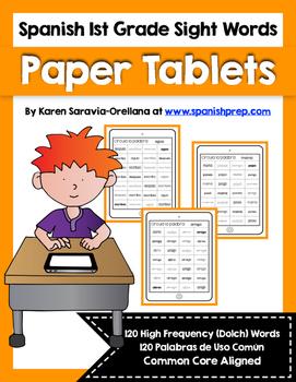 Spanish Sight Words Paper Tablets (1st Grade)