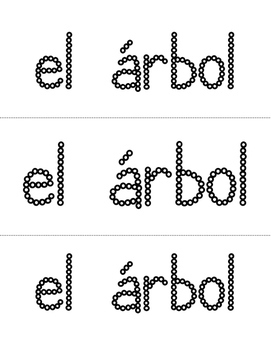 Spanish Sight Words Cotton Swab Printables (Nouns)