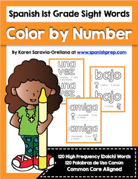 Spanish Sight Words Color By Number (1st Grade)