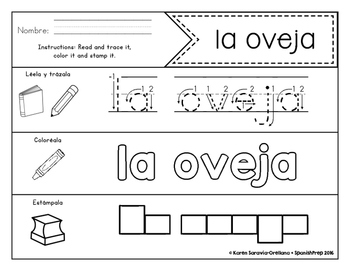 Spanish Sight Words Read Trace Color Stamp (Nouns)