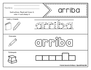 Spanish Sight Words Read Trace Color Stamp (Pre-Primer)