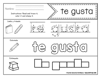 Spanish Sight Words Read Trace Color Stamp (Primer)