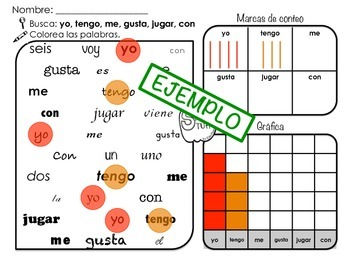 Spanish Sight Words Search Graph and Tally