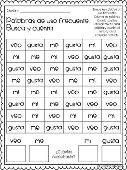Spanish Sight Words Search and Find