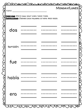 Spanish Sight Words Week 9