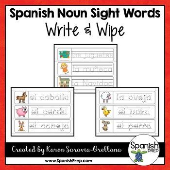 Spanish Sight Words Write & Wipe (Nouns) - Version 1