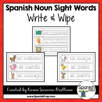 Spanish Sight Words Write & Wipe (Nouns)
