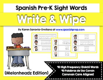 Spanish Sight Words Write & Wipe (Pre-Primer)