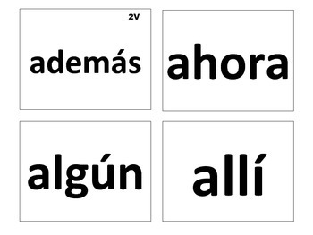 Spanish Sight Words Level 2 (Kindergarten & 1st Grade)