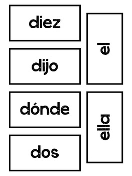 Spanish Word Wall Words