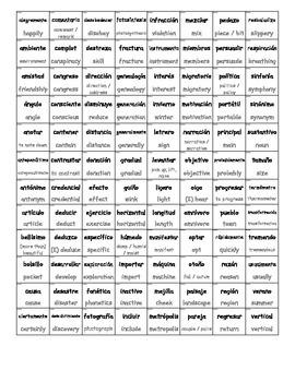 Spanish Sight Words with English Translation Cards (BUNDLE)