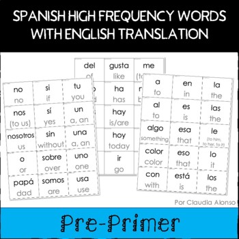 spanish sight words with english translation cards pre primer