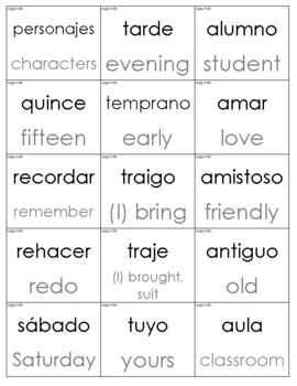 Spanish Sight Words with English Translation Cards (Second Grade)