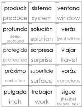 Spanish Sight Words with English Translation Cards (Third Grade)