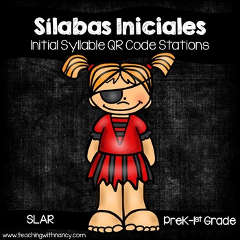 Spanish: Silabas Iniciales QR Code Pirate Word Work Stations